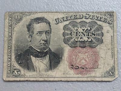 """1874 Ten Cent Fractional Currency FR# 1266 """"Short Key""""  Shield Variety!!"""
