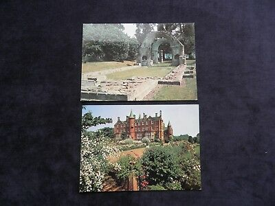 2 Vintage Scottish Postcards of St. Baldred's Church and Tyninghame House Dunbar