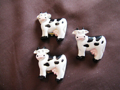 Vintage Unique Matching Dairy Cow Button Covers and Pin