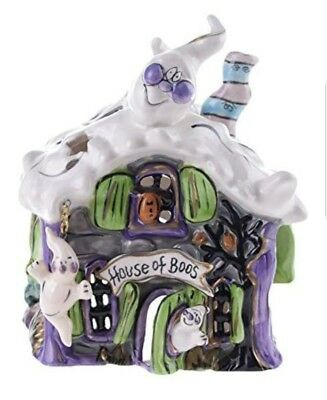 """Blue Sky Ceramic Halloween 5.5"""" x 5.5"""" x 6.5"""" House of Boos Candle House, Small"""