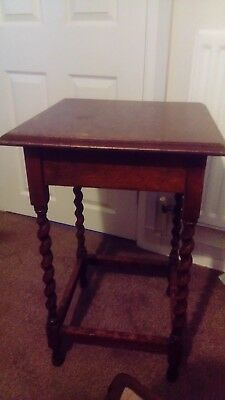 Victorian Antique Oak Barley Twist Plant Stand, Side Table , Occasional Table.