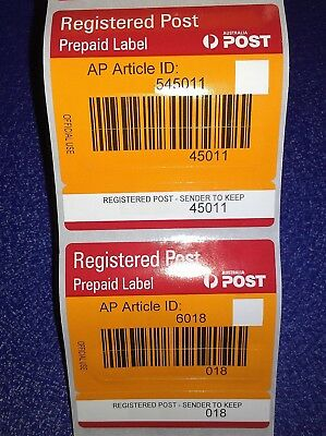 10 x Australia Post Prepaid Registered Label Signature on Delivery / Tracking