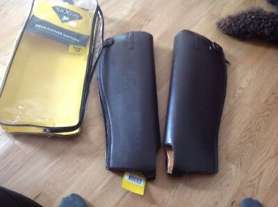 Brown Saxon Equileather Adult Gaiters Size Small ( Tall )