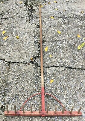 Vintage Antique Wooden Rake Wheat Grain Farm Amish Local Pick Up Primitive