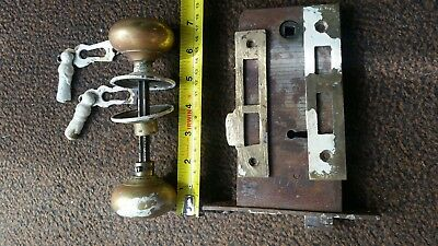 Old Antique Vintage Brass Victorian ? Horizontal Mortice Lock  No Keys