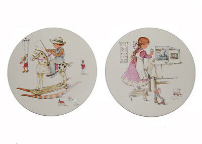 vintage 70s HORNSEA childhood games baby child nursery retro wall plaques plates