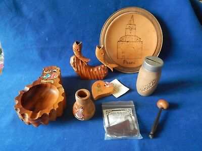 Load Of Old Wooden Ware Porec Plaque Ashtray Celtic Keyring Fish Etc...