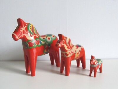 "3 Vintage Swedish Dala Horses Large 10""  Medium  5"" Small All With Labels"