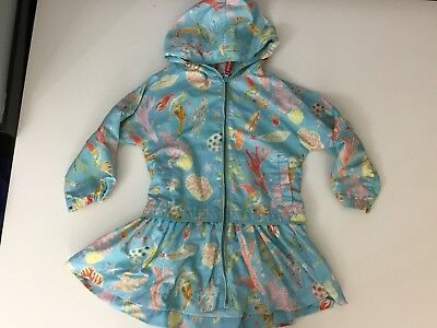 Oilily Girls Lightweight Blue Coral Sea Print Rain Jacket Coat Age 4 Years