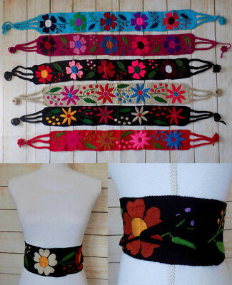Women's Mexican Floral Woven Wrap Belt Handmade Embroidered Hippie Bohemian