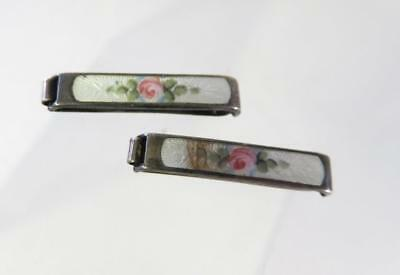 Vintage Tiny Sterling Guilloche Enamel Hair Barrettes With Roses