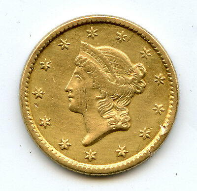 Genuine 1851 Gold Liberty $1 Coin   XF Details
