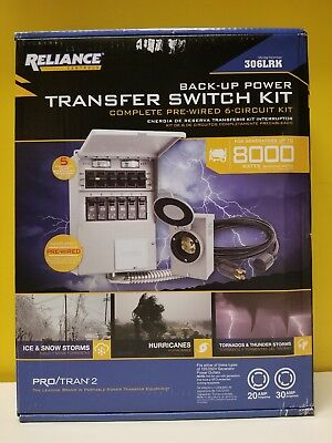Reliance Controls 306LRK Back-up Power Transfer Switch Kit. New in box.