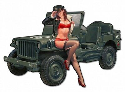 "Greg Hildebrandt Art "" Jeep Willys Overland "" Army Metal Sign Garage Man Cave"