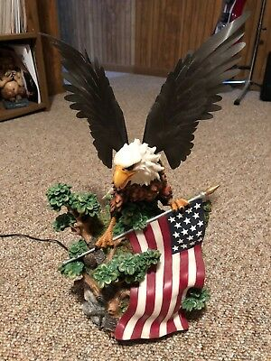 Fiber Optic Bald Eagle / American Flag Statue W/ Moving Wings