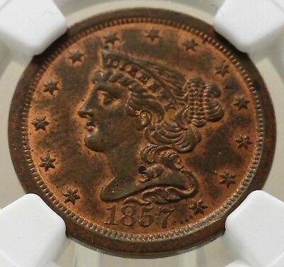 1857 braided hair Liberty half cent, NGC graded MS62, hints of red, 4689109-003