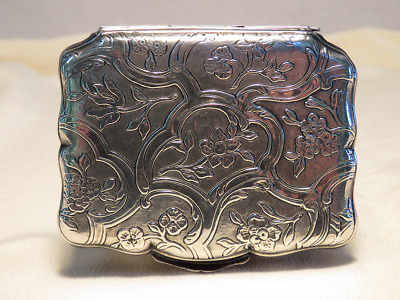 Small Silver Box with Floral Engraved Design - Excellent Used Condition
