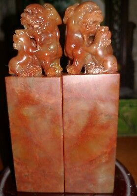 2Chinese Shoushan Stone Carving Pixiu Brave Troops Lions Beast Seal Stamp Signet