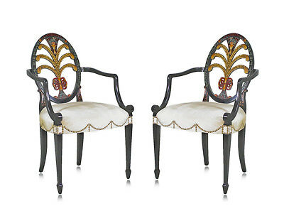 Pair New Hepplewhite Prince of Wales Feather Back Paint Decorated Dining Chairs
