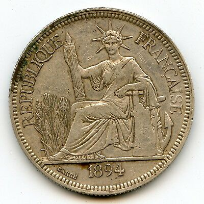 Genuine Silver 1894-A French Indo-China 1 Piastre | XF Details