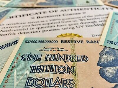 Zimbabwe 100 Trillion Dollars Aa 2008 Series P91 Unc Authentic, Uv Inspected Coa