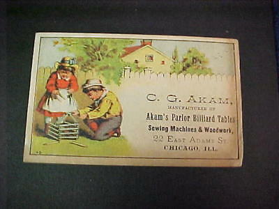 Late 1800's C.G. Akam Billiard Tables, Sewing Machines, & Woodwork Trade Card