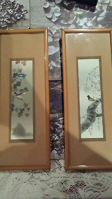 Oriental pictures...vintage. chinese i think. great age. one bird on each.