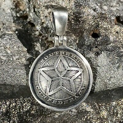 """.925 Confederate Officer Button, """"SOUTHERN CONFEDERACY"""" Civil War Relic Pendant"""