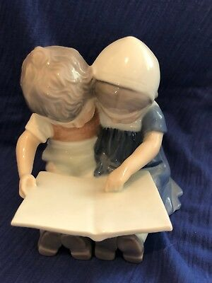 B&G Bing and Grondahl Porcelain Children Reading Book Figurine