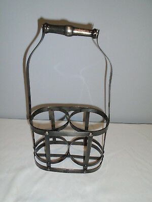 French authentic metal wine carrier 2 bottles wood handle vintage