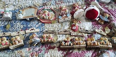 Lot of 17 Christmas Cherished Teddies 10 are Ornaments!