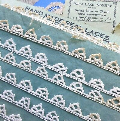 Antique Hand Made Triple Picot Lace Edging Five Yards