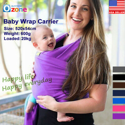 Ergonomic Baby Sling Stretchy Adjustable Wrap Carrier Breastfeeding Pouch Cotton
