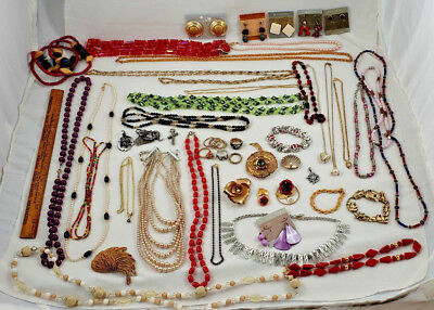 50+ Piece Mixed Lot of Vintage Fashion Costume Jewelry VG Condition, Packed Nice