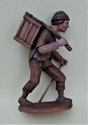 NAIVITY FIGURE- 6 1/2/ in. -  FARMER WITH CHICKEN IN CAGE - CARVED - ITALY