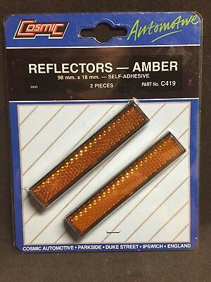 Amber Reflectors 98 x 18mm Self Adhesive Rectangular Trailer Caravan Bike Side