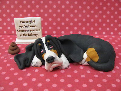 """Handsculpted Black Basset Hound """"Someone pooped in the hallway"""" Figurine 3 pc."""