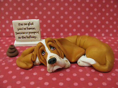 """Handsculpted Red Basset Hound """"Someone pooped in the hallway"""" Figurine 3 pc."""