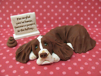 """Handsculpted L/W English Springer Spaniel """"Someone pooped"""" Figurine 3 pc."""