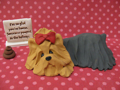 "Handsculpted Yorkie Yorkshire Terrier ""Someone pooped"" Figurine 3 pc."