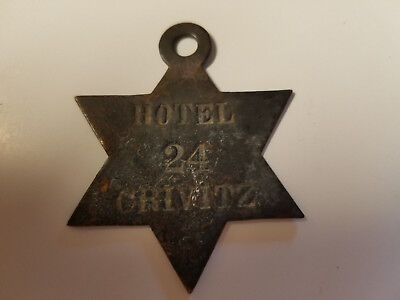 Vintage Rare Brass Hotel Badge Style Key #24 Crivitz, Wisconsin Holder