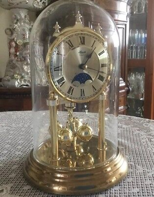 Vintage Hermle Glass Dome Quartz Moonphase Mantle Clock In V.Good Condition