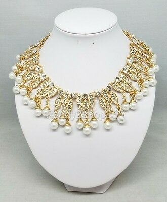 Cleopatra Ancient Egyptian Halloween Costume Faux Pearl Gold Necklace Collar New