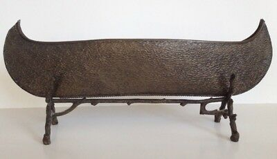 Antique Hammered Metal Canoe Boat Sculpture Model Stand Arts & Crafts Vintage