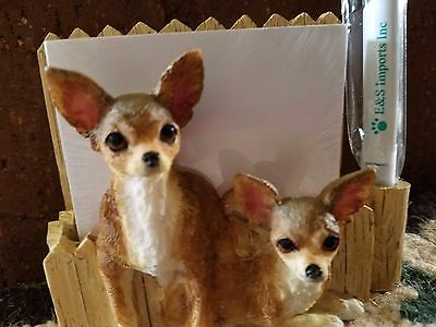 Chihuahua Note Pad/Pen Magnet/ holder with Pen & Pad. 2 Left.New