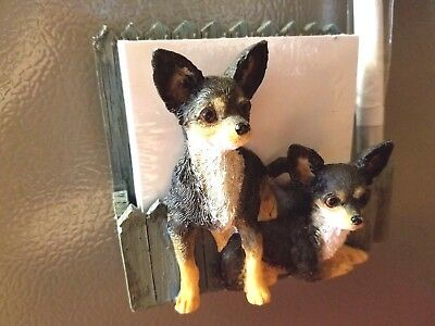 Chihuahua Note Pad/Pen holder.NEW. 1 Left! With Sealed Pad. Magnet back