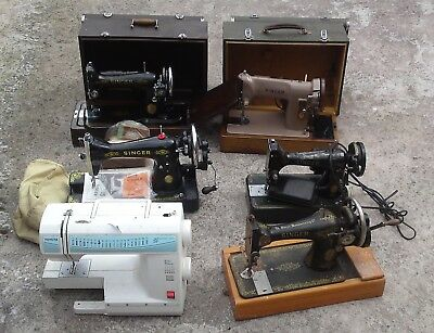 Job Lot of 6 Vintage Singer Electronic Hand Operated Sewing Machine Used