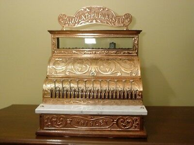 Restored Antique Copper Plated Wrigley Cash Register with Original Top Sign