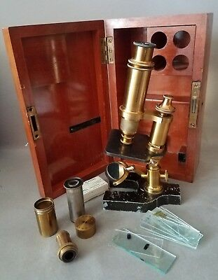 """"""" Zeiss """" Microscope in Wood Case - Antique - Brass - Extra Lenses"""