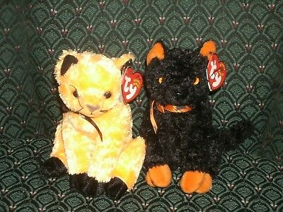 "TY 2 BEANIE ~ SCARED-e (TY store) & FRAIDY~HALLOWEEN CATS ~ Approx 6"" ~new~ MWMT"